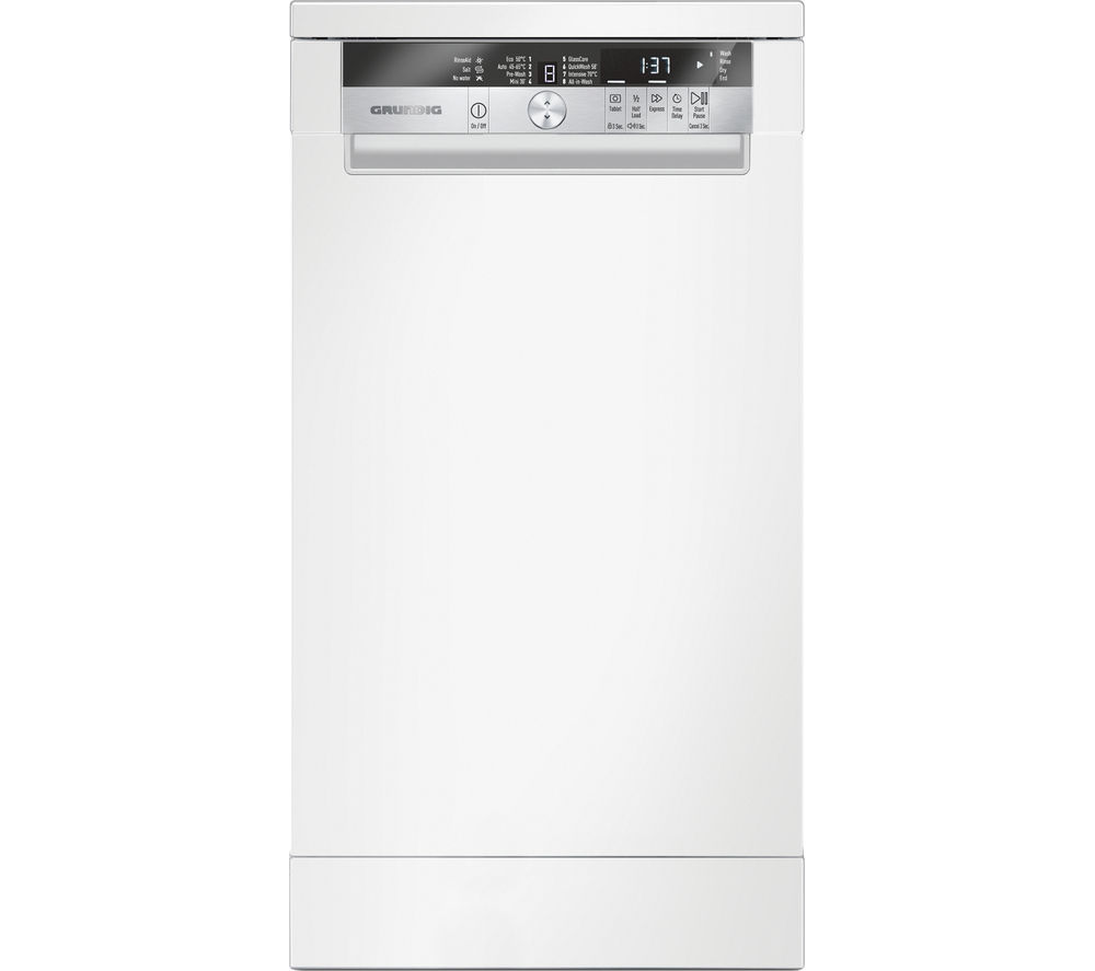 GRUNDIG  GSF41820W Slimline Freestanding Dishwasher - White +  GWN48430CW Washing Machine - White