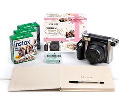 INSTAX WIDE 300 Instant Camera Wedding Bundle - Black & Silver