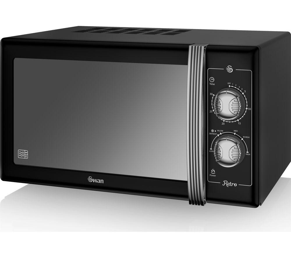 Image of SWAN Retro SM22070BN Solo Microwave - Black, Black
