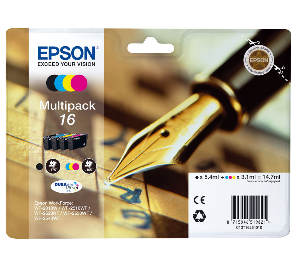 EPSON Pen & Crossword T1626 Cyan, Magenta, Yellow & Black Ink Cartridges - Multipack