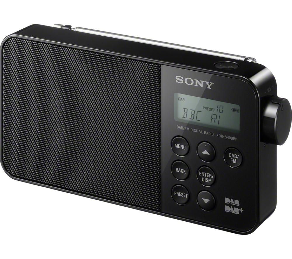 sony xdrs40dbpb portable dab radio black deals pc world. Black Bedroom Furniture Sets. Home Design Ideas