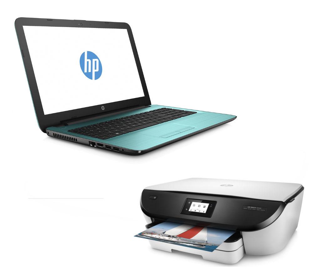 """Image of HP 15-ba077sa 15.6"""" Laptop - Teal & Inkjet Printer Bundle"""