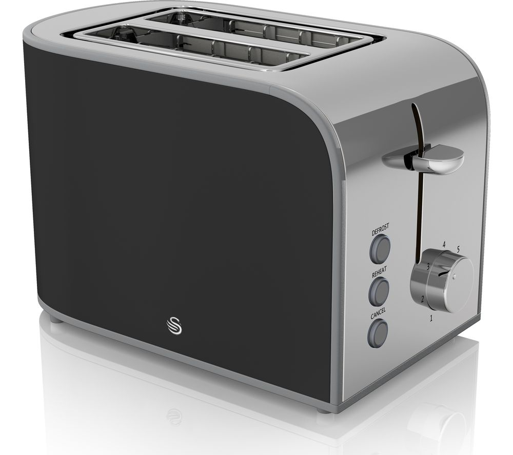 swan retro st17020bn 2 slice toaster black black. Black Bedroom Furniture Sets. Home Design Ideas