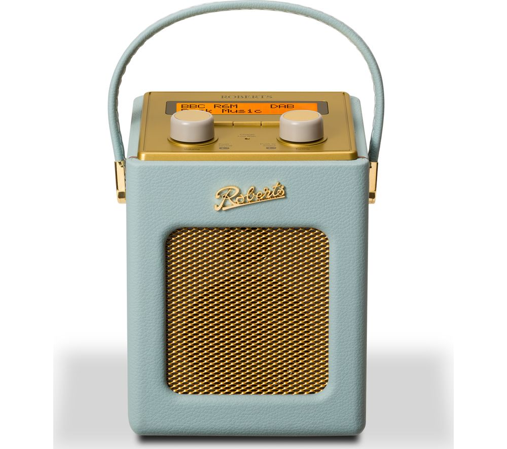 Roberts  Revival Mini Portable Dab Radio - Duck Egg & Gold, Duck Egg.