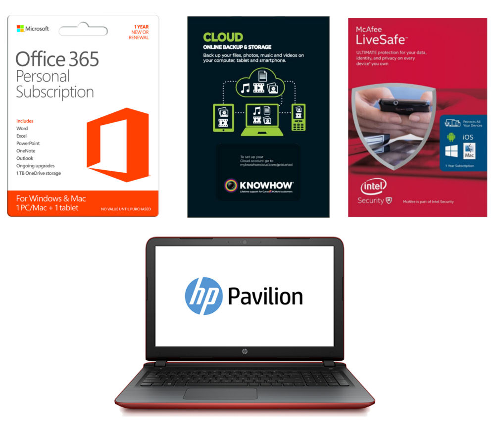 HP Pavilion 15.6 Laptop with Software Bundle  Red