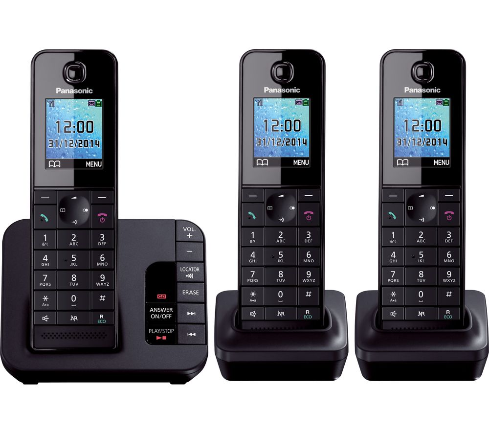 PANASONIC PANASONIC  KX-TG8183EB Cordless Phone with Answering Machine - Triple Handsets