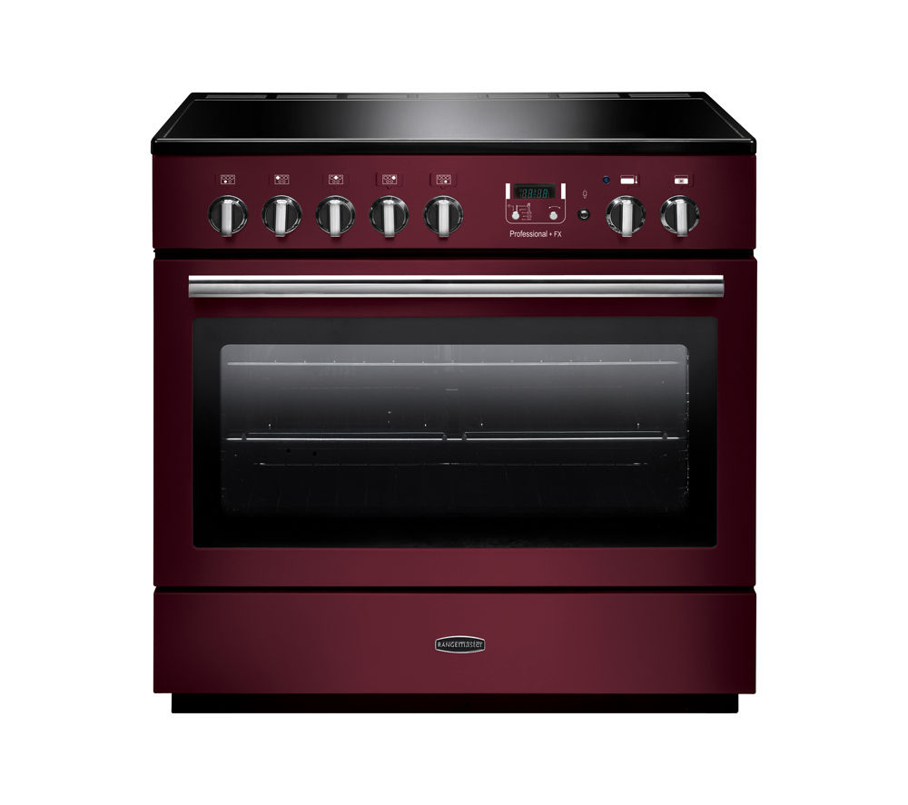 RANGEMASTER  Professional FX 90 Electric Induction Range Cooker  Cranberry & Chrome Cranberry