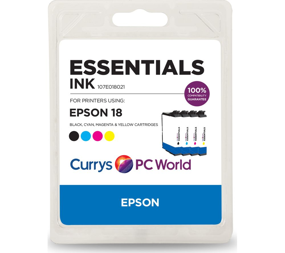 ESSENTIALS Cyan, Magenta, Yellow & Black Epson Ink Cartridges - Multipack