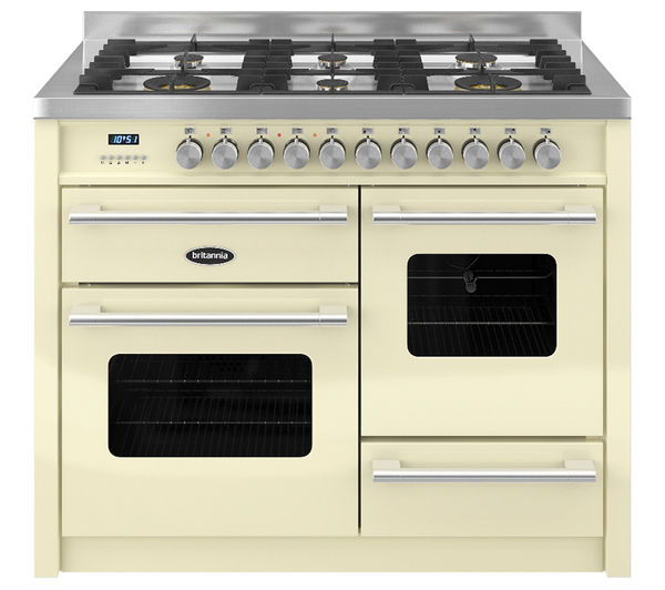 BRITANNIA Delphi RC11XGGDECR Dual Fuel Range Cooker - Gloss Cream & Stainless Steel