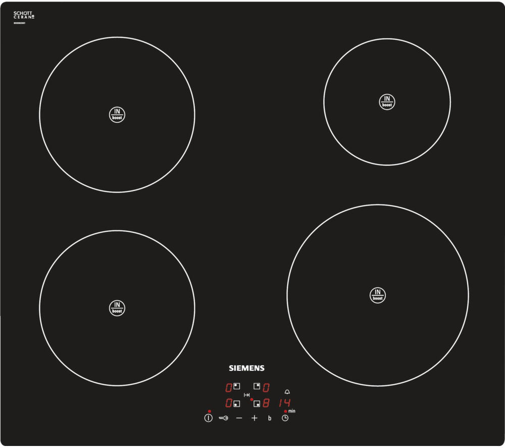 siemens iq100 eh611ba18e electric induction 4 zone hob black glass cooktop. Black Bedroom Furniture Sets. Home Design Ideas