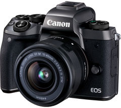 CANON EOS M5 Compact System Camera with 15-45 mm f/3.5-6.3 Zoom Lens & Smart Lens Adapter - Black