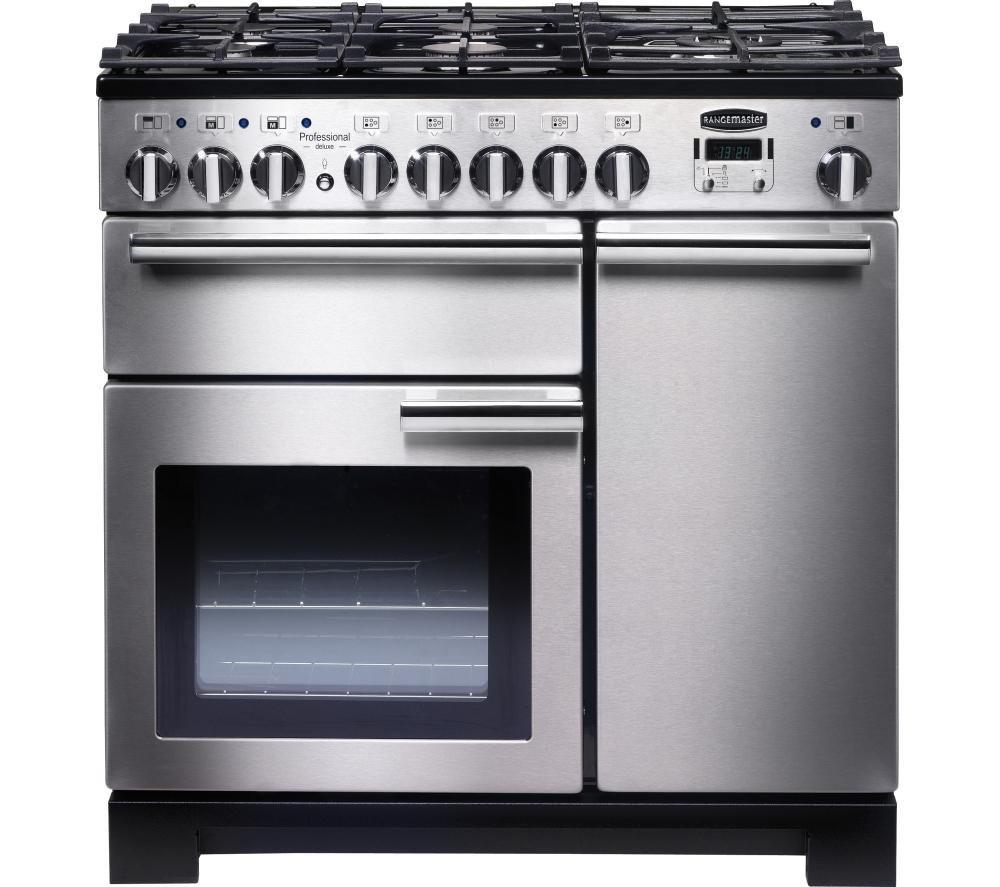 RANGEMASTER Professional Deluxe 90 Dual Fuel Range Cooker - Stainless Steel