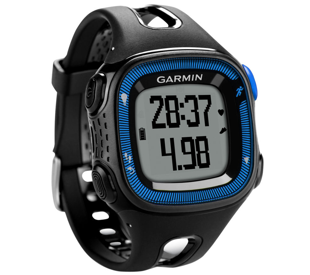 Garmin Forerunner 15 GPS Running Watch with Heartrate Monitor  Black & Blue Black
