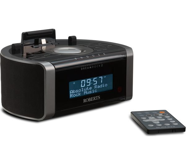 roberts dreamdock2 dab clock radio with apple lightning connector black deals pc world. Black Bedroom Furniture Sets. Home Design Ideas