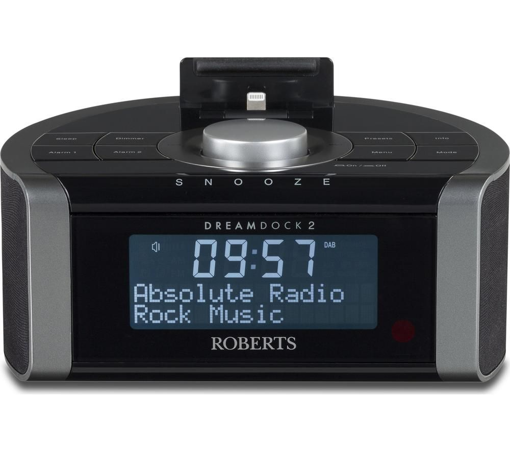 Click to view more of ROBERTS  DreamDock2 DAB Clock Radio with Apple Lightning Connector - Black, Black