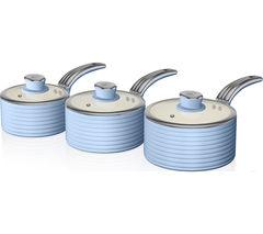 SWAN SWPS2010BLN 3-piece Non-stick Saucepan Set - Sky Blue