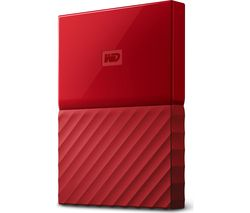 WD My Passport Portable Hard Drive - 1 TB, Red