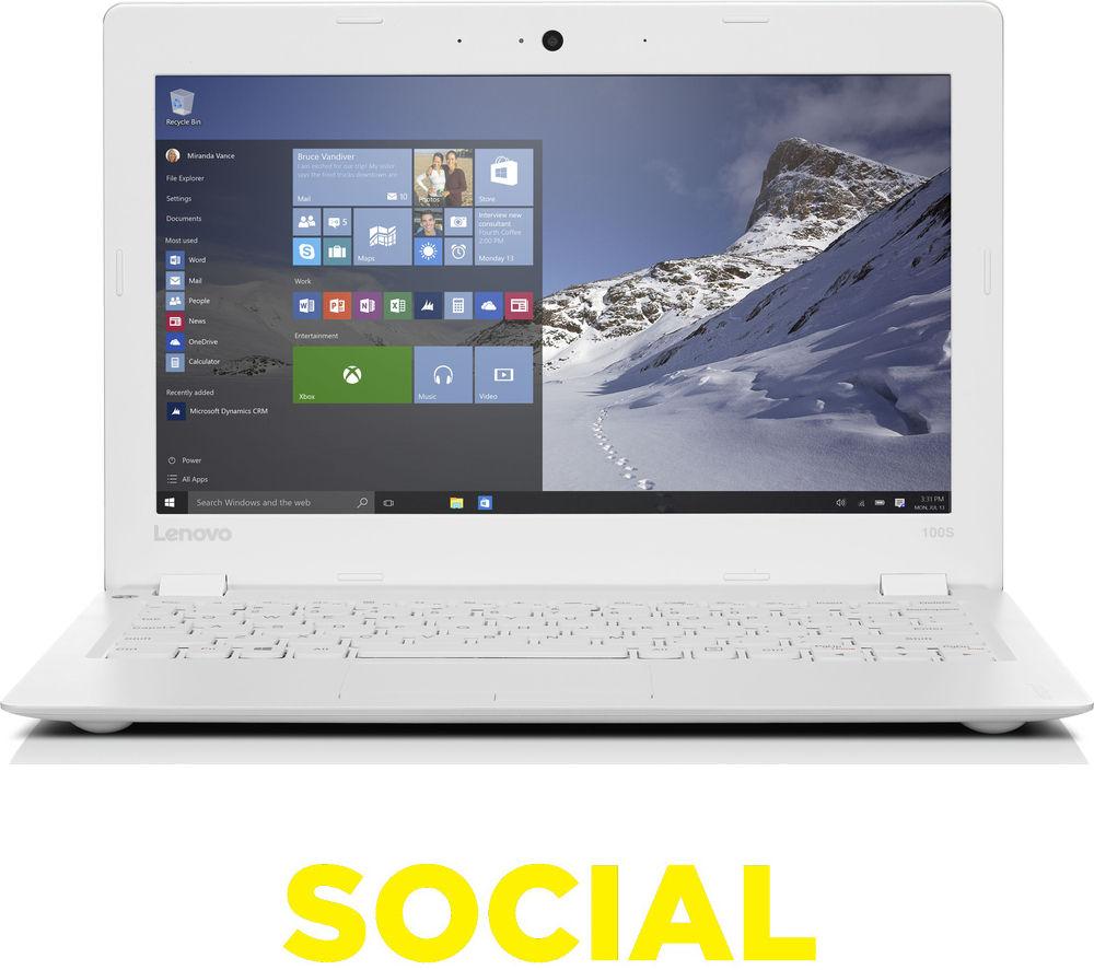 "Image of Lenovo Intel IdeaPad 100S 11.6"" Laptop - White"