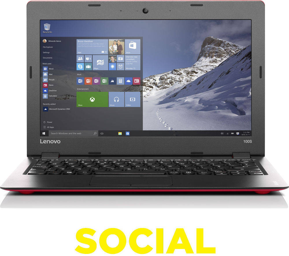 "Image of Lenovo Intel IdeaPad 100s 14"" Laptop - Red"