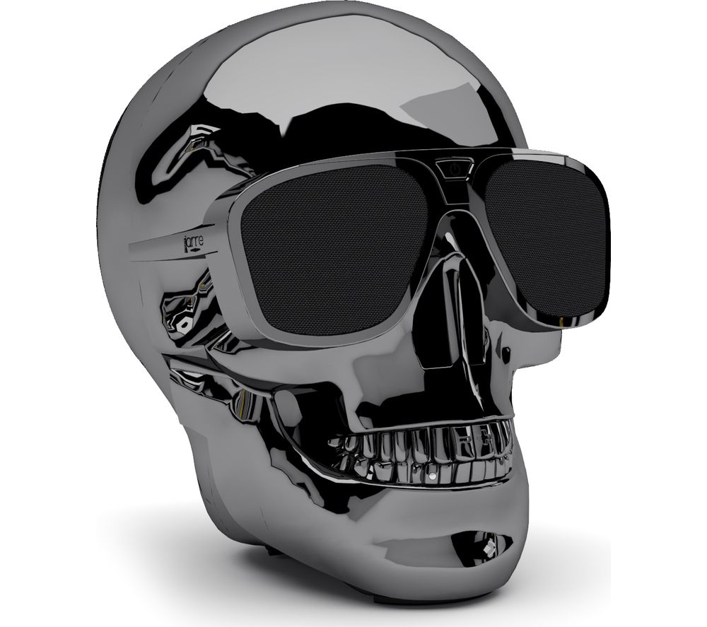 Click to view more of JARRE  AeroSkull XS  Portable Wireless Speaker - Chrome Black, Black