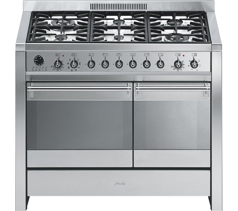 SMEG A2-8 100 cm Dual Fuel Range Cooker - Stainless Steel