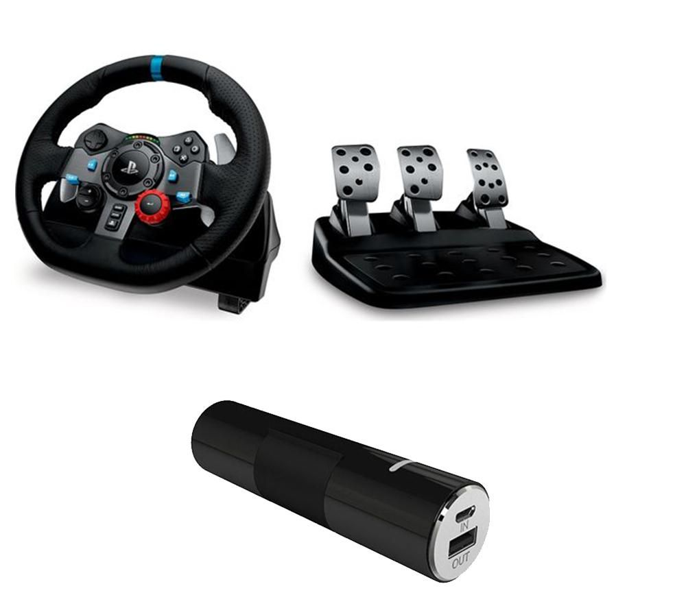 LOGITECH Driving Force Racing Wheel, Pedals & Portable Power Bank Bundle