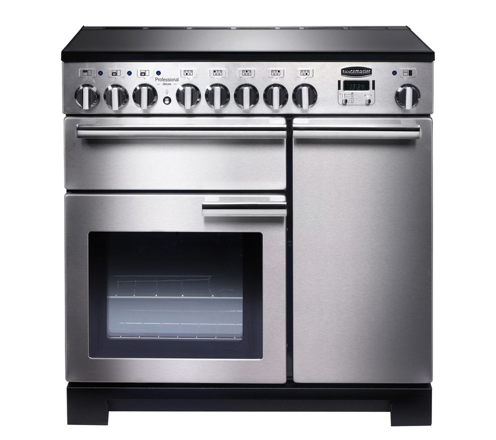 RANGEMASTER  Professional Deluxe 90 Electric Induction Range Cooker  Stainless Steel & Chrome Stainless Steel