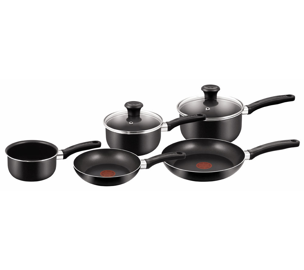 Image of TEFAL A1799444 Delight 5-piece Non-stick Pan Set - Black, Black