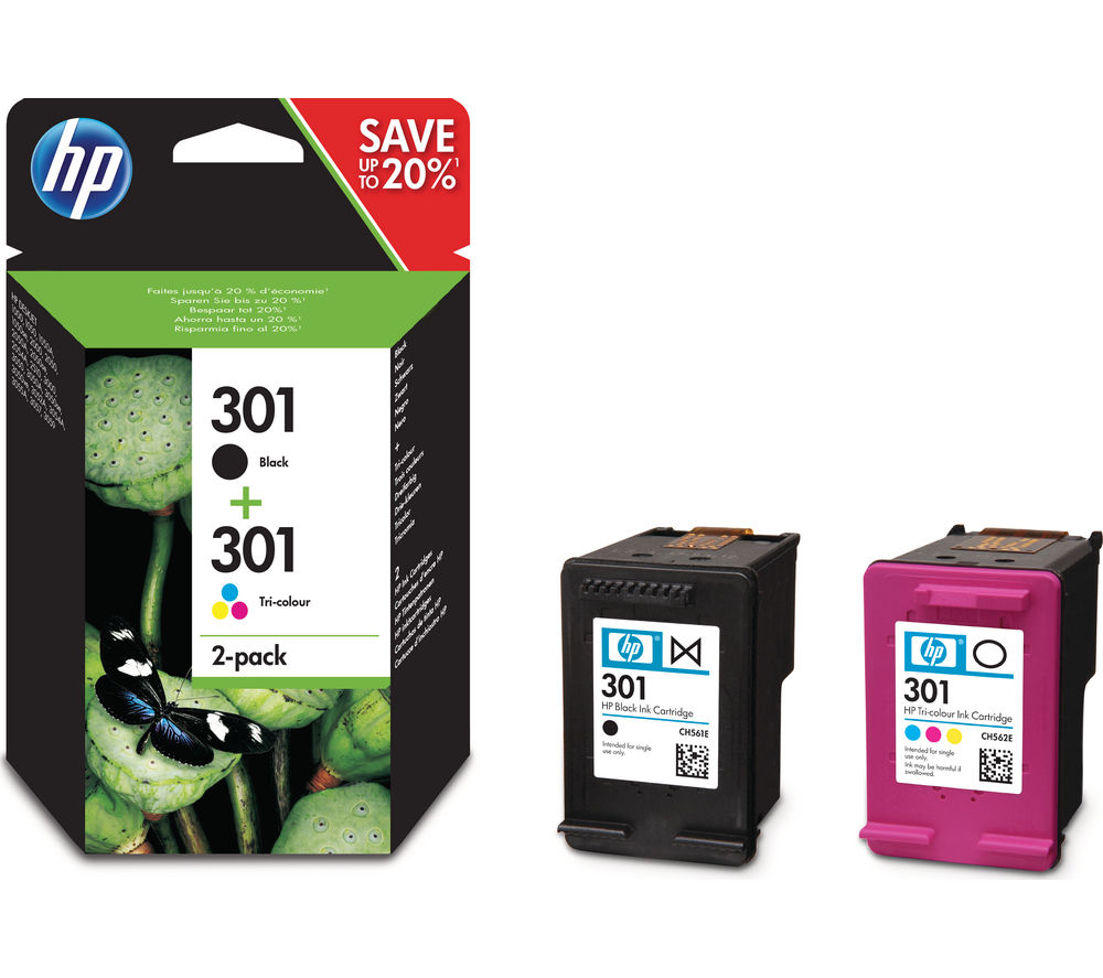 hp 301 black tri colour ink cartridges twin pack deals pc world. Black Bedroom Furniture Sets. Home Design Ideas