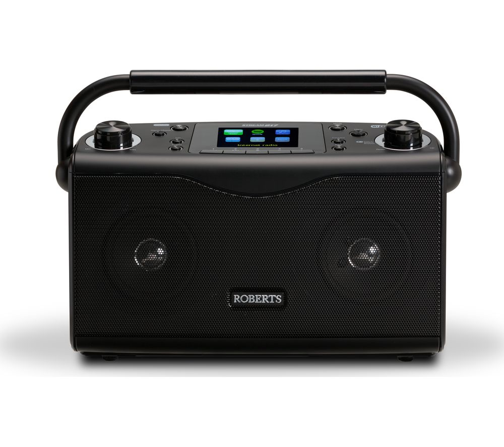 roberts stream217 portable dab fm clock radio black deals pc world. Black Bedroom Furniture Sets. Home Design Ideas