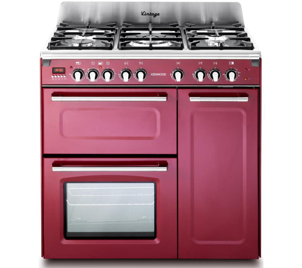 KENWOOD CK503VB 90 cm Dual Fuel Range Cooker - Burgundy & Stainless Steel