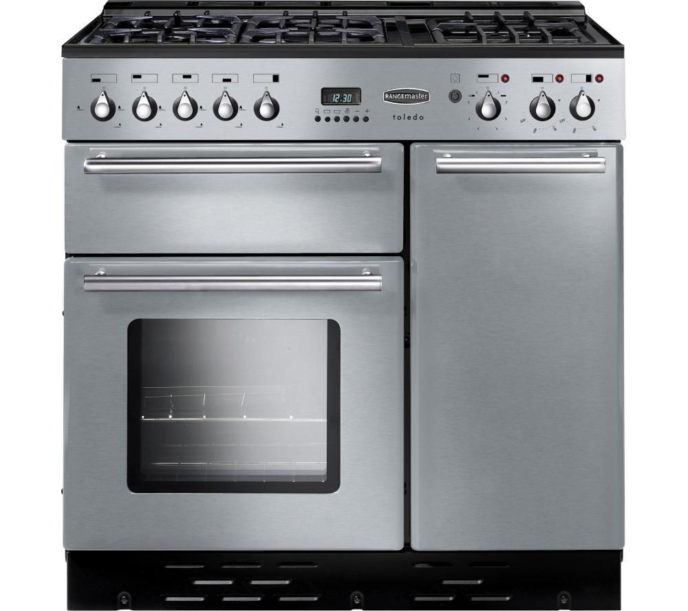 RANGEMASTER Toledo 90 Dual Fuel Range Cooker - Stainless Steel & Chrome