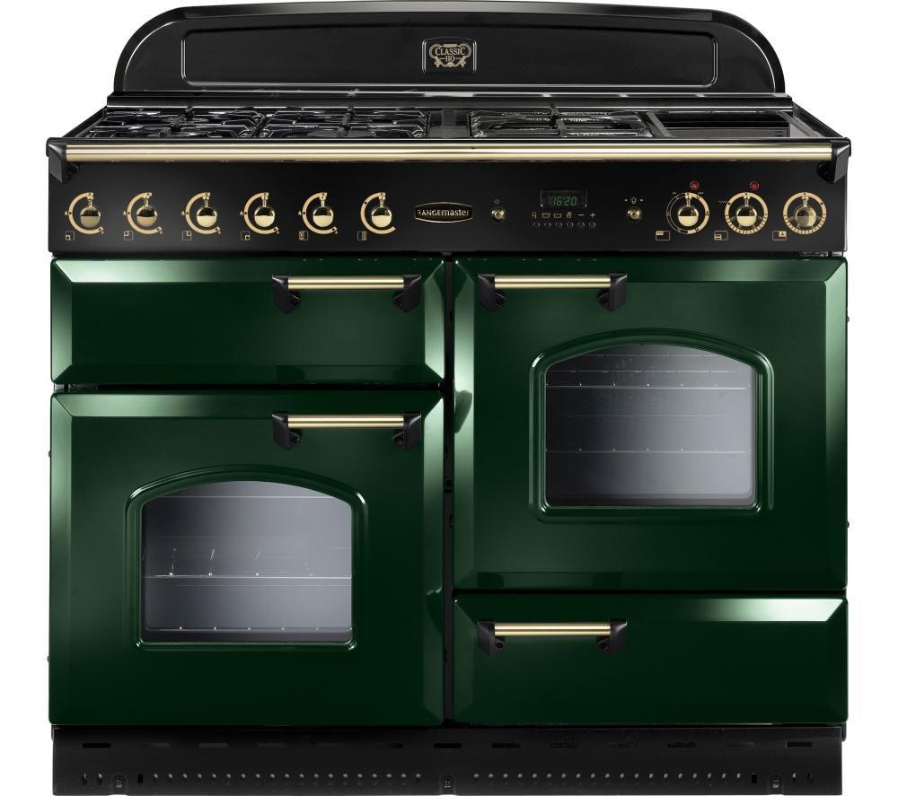 Rangemaster Classic 110 Dual Fuel Range Cooker  Green & Brass Green