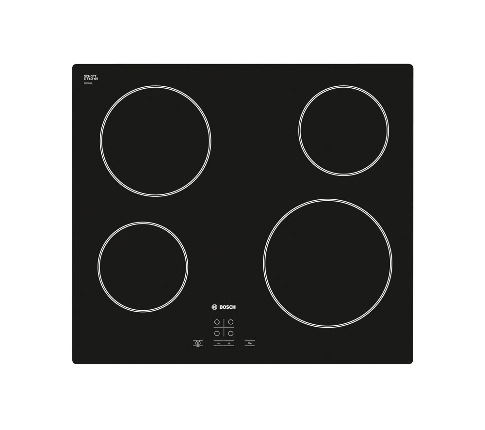BOSCH PKE611D17E Electric Ceramic Hob - Black + Classixx DWA064W51B Chimney Cooker Hood - Stainless Steel
