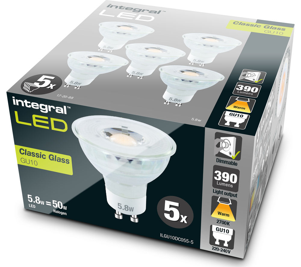 INTEGRAL  ILGU10DC055-5 GU10 Dimmable LED Light Bulb - Warm White, Pack of five, White