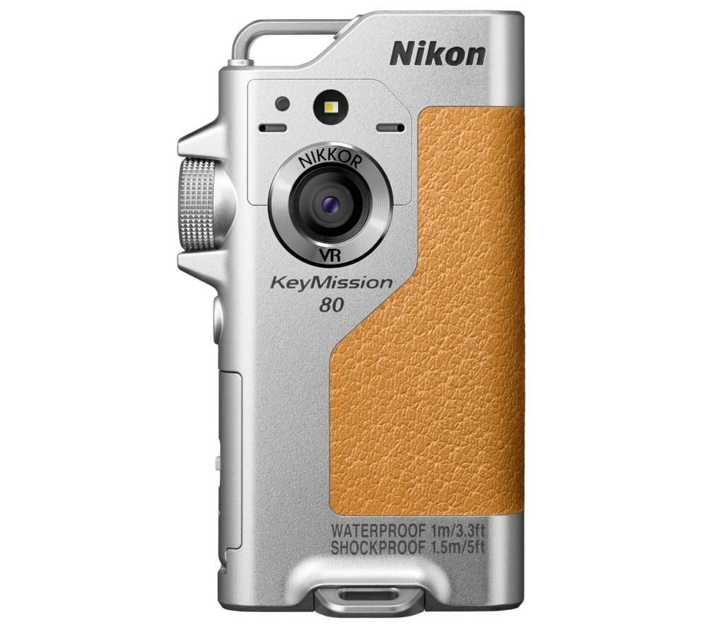 NIKON KeyMission 80 Action Camcorder - Silver + AA-12 Base Mount Set + Extreme Plus Class 10 microSD Memory Card - 32 GB