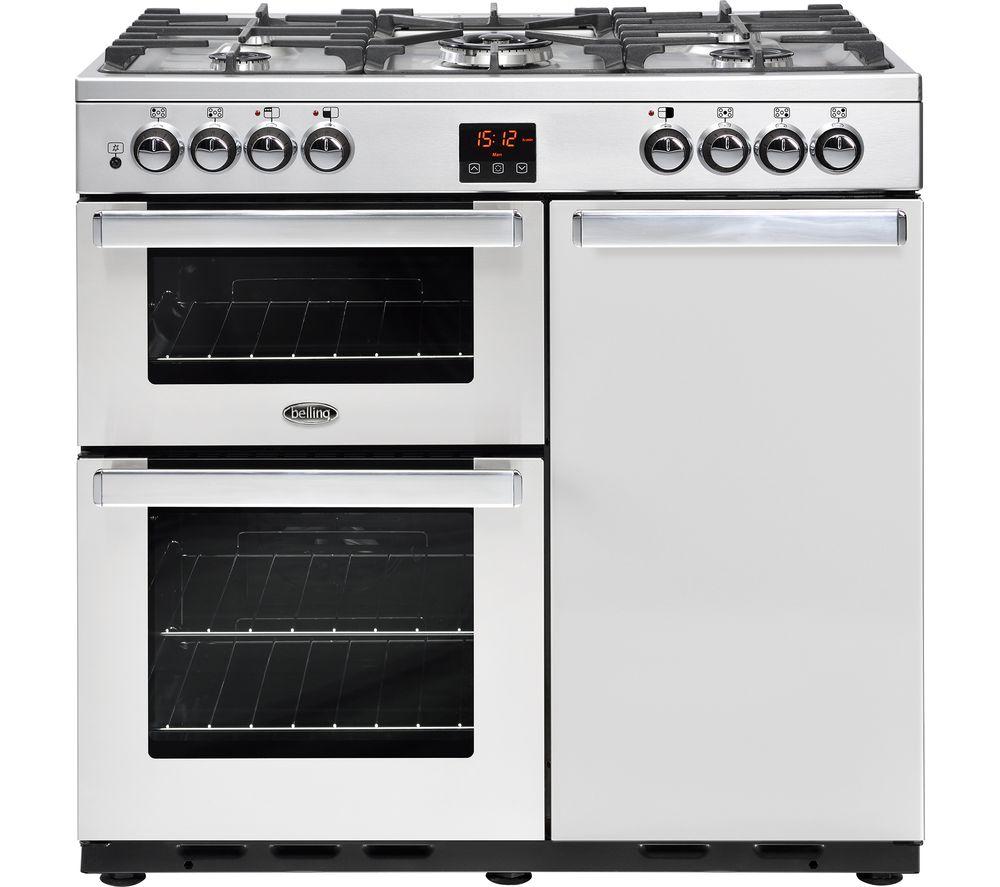 BELLING Gourmet 90DFT 90 cm Dual Fuel Range Cooker - Stainless Steel