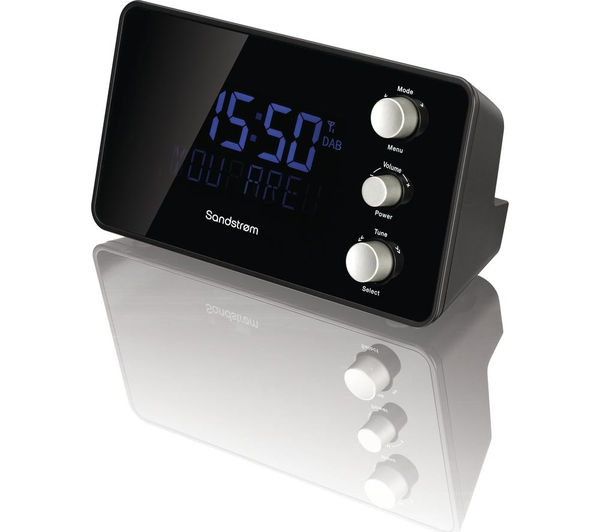sandstrom sdabxcr13 dab fm clock radio black currys pc world business. Black Bedroom Furniture Sets. Home Design Ideas