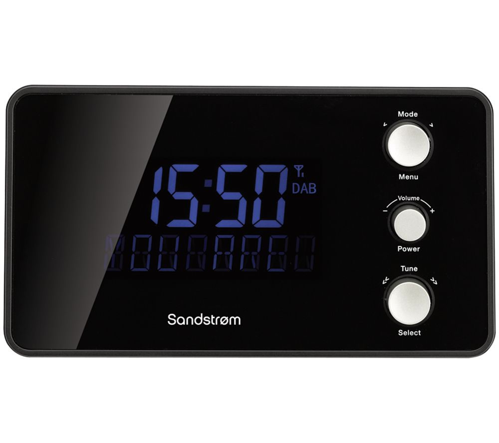 buy sandstrom sdabxcr13 dab fm clock radio black free delivery currys. Black Bedroom Furniture Sets. Home Design Ideas