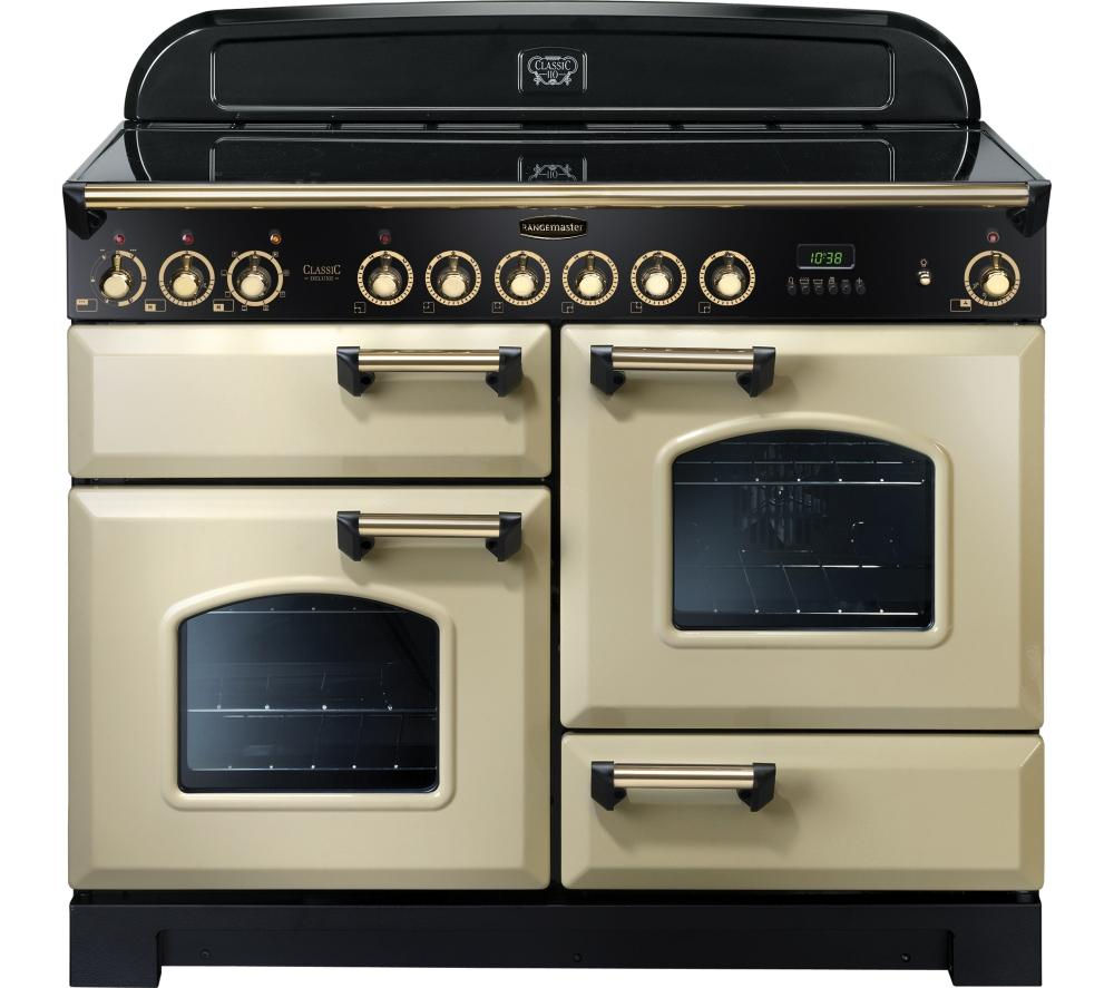 RANGEMASTER Classic Deluxe 110 Electric Ceramic Range Cooker - Cream & Brass