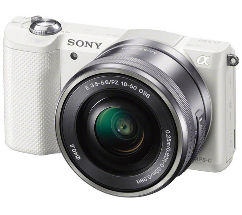 SONY  a5000 Compact System Camera with 16-50 mm f/3.5-5.6 OSS Zoom Lens - White, White