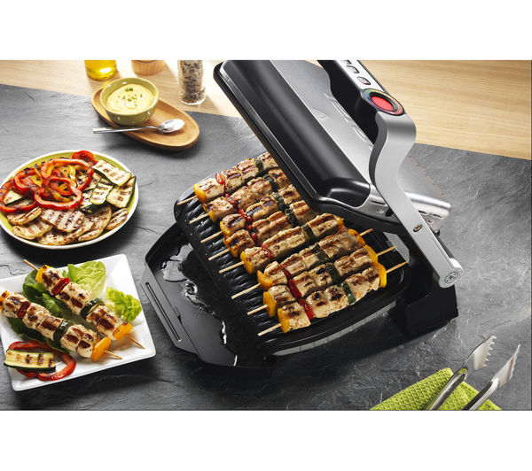 Gc701d40 tefal optigrill gc701d40 health grill stainless steel black currys pc world - Health grill with removable plates ...