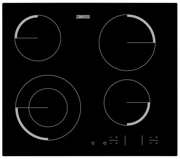 ZANUSSI  ZEV6341FBA Electric Ceramic Hob - Black +  ZOP37902BA Electric Oven - Stainless Steel