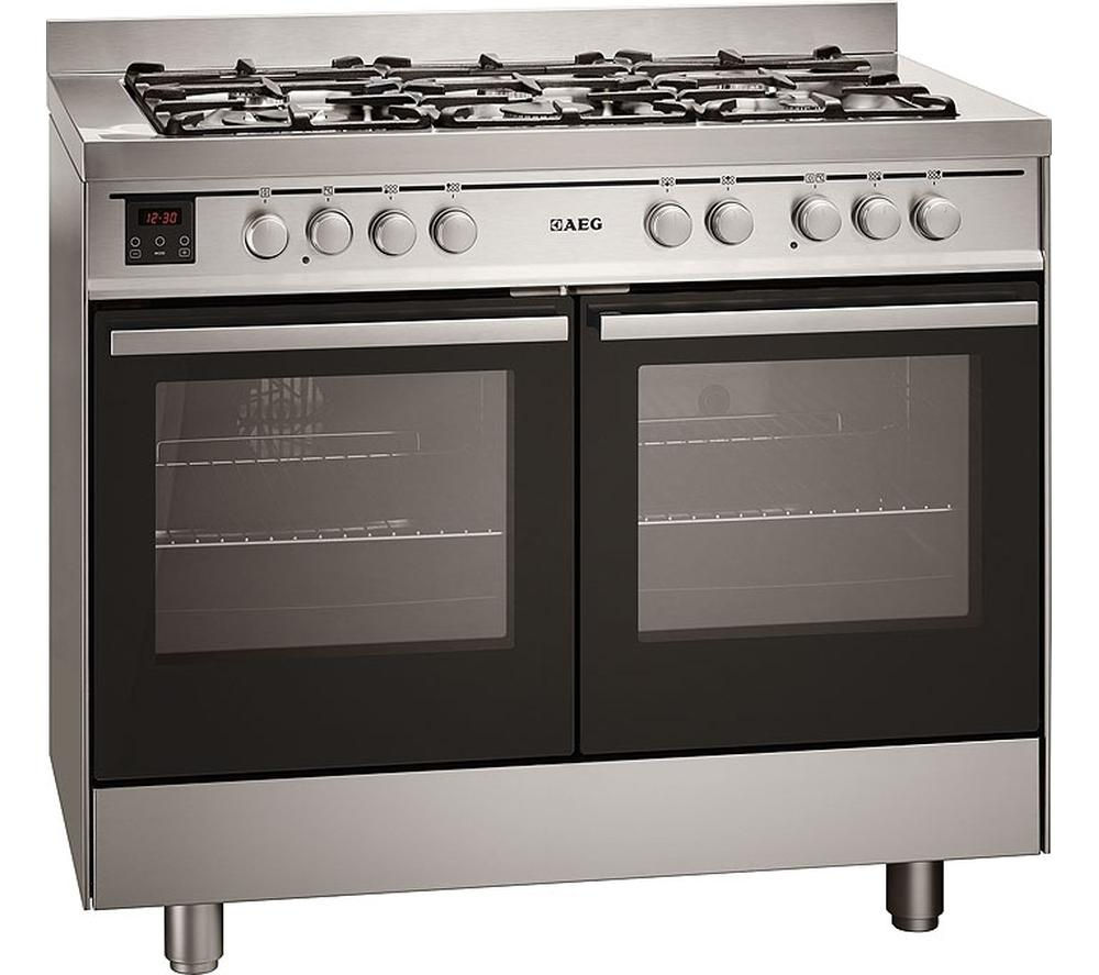 buy aeg 49190go mn 100 dual fuel range cooker stainless. Black Bedroom Furniture Sets. Home Design Ideas