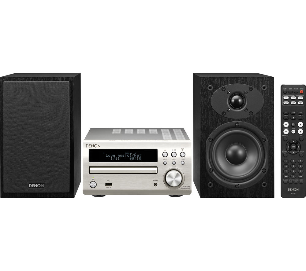 DENON  DM-40DAB Traditional Hi-Fi System- Silver, Silver