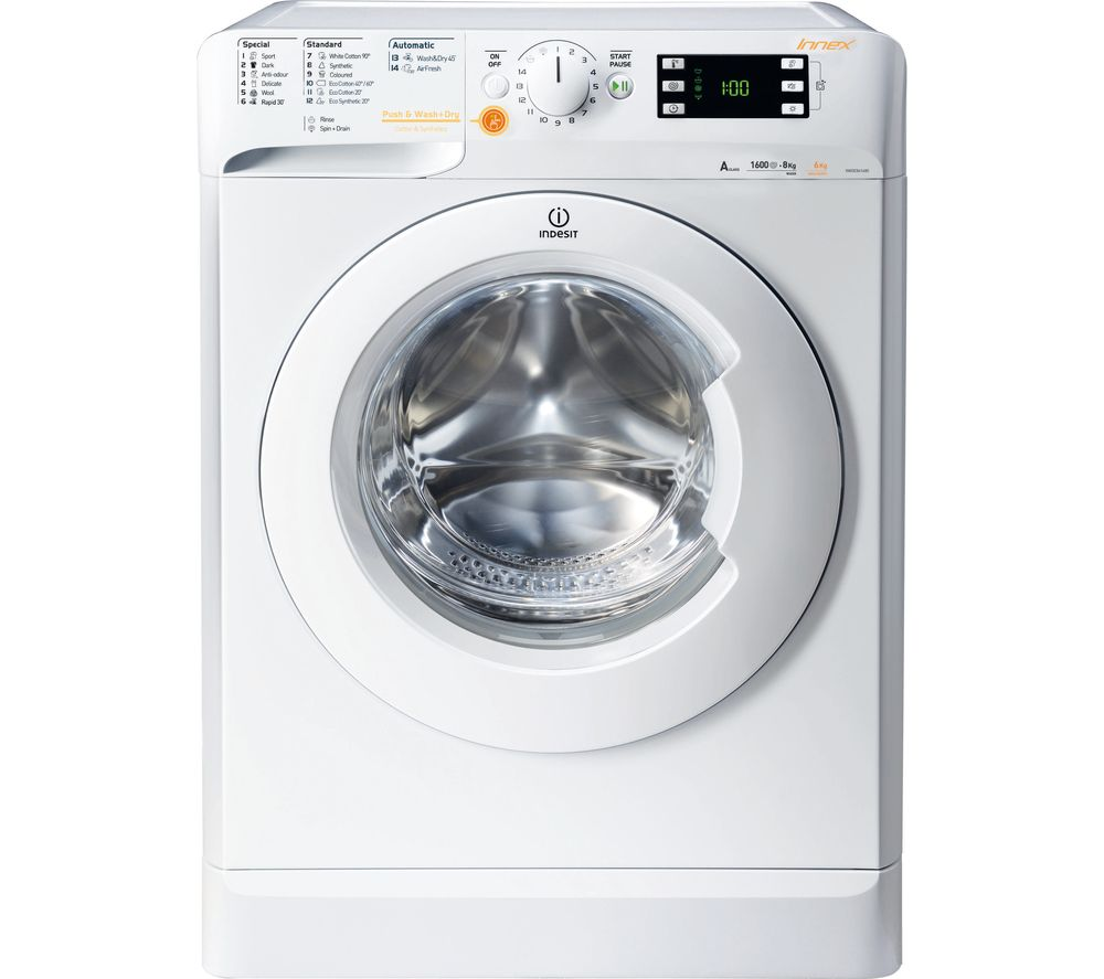 buy indesit innex xwde861680xw washer dryer white free delivery currys. Black Bedroom Furniture Sets. Home Design Ideas