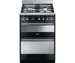 SMEG Concert 60 Dual Fuel Cooker - Black & Stainless Steel