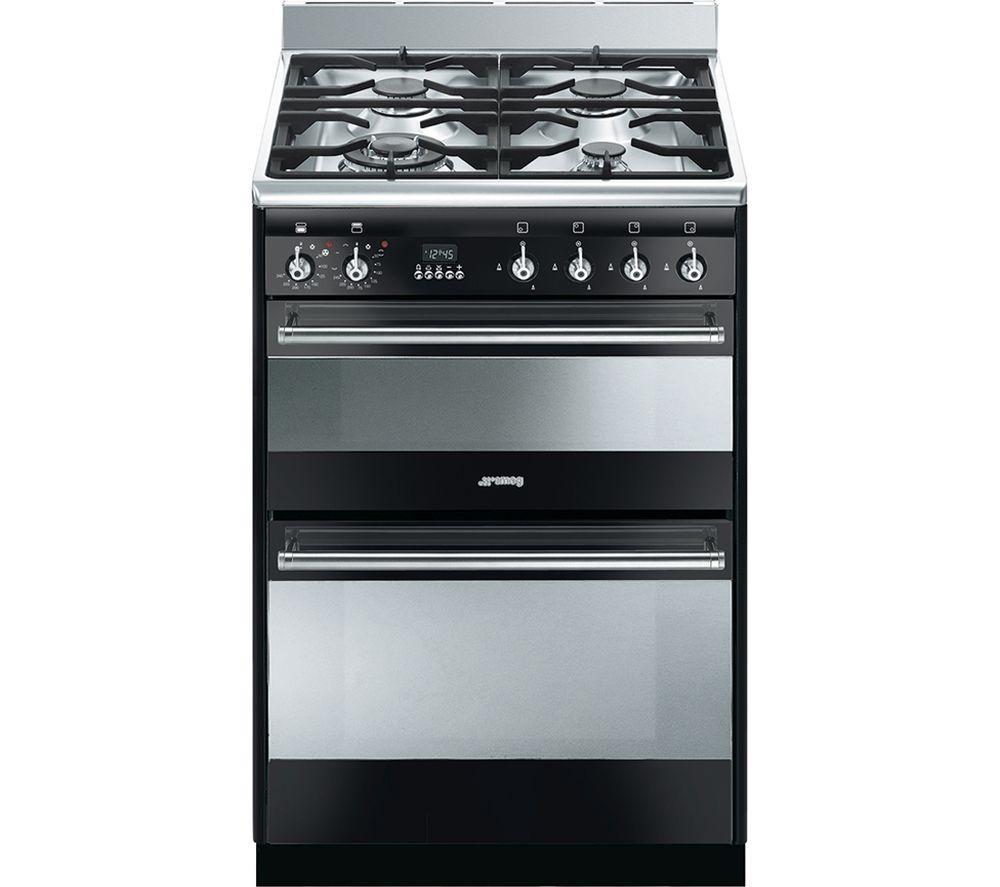 buy smeg concert 60 dual fuel cooker black stainless. Black Bedroom Furniture Sets. Home Design Ideas
