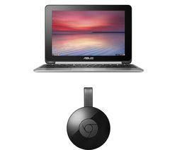 """ASUS C100PA 10.1"""" Chromebook Flip & Chromecast Bundle - Silver"""