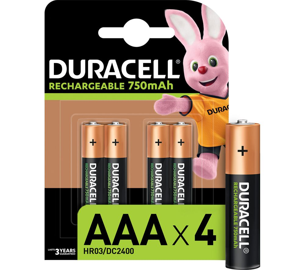 DURACELL HR03/DC2400 AAA NiMH Rechargeable Batteries - 4 Battery Pack